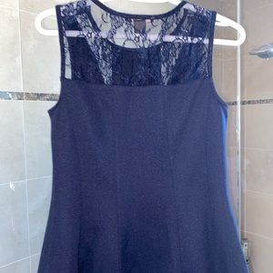 Navy blue lace trimmed tank size M